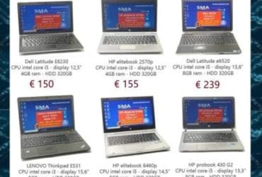 Notebook ricondizionati hp Lenovo dell fine leasing Intel i3 i5 i7