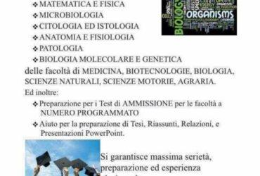 Docente di biologia e chimica impartisce lezioni private per universitari e liceali