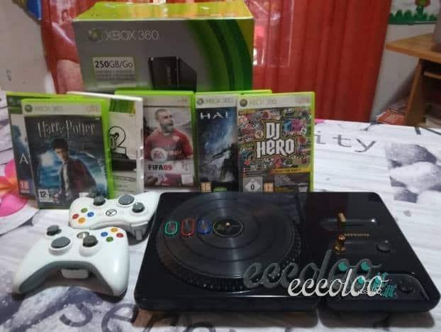 Xbox 360, Kinect, 6 giochi, 2 joystick, accessorio Dj