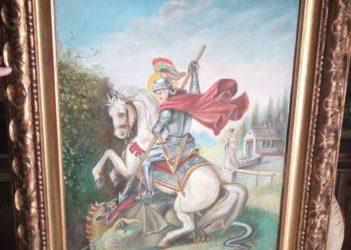 Quadro di lotta tra san giorgio e il drago