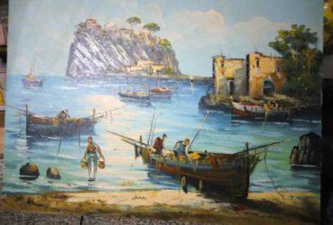 Quadro barche di pescatori