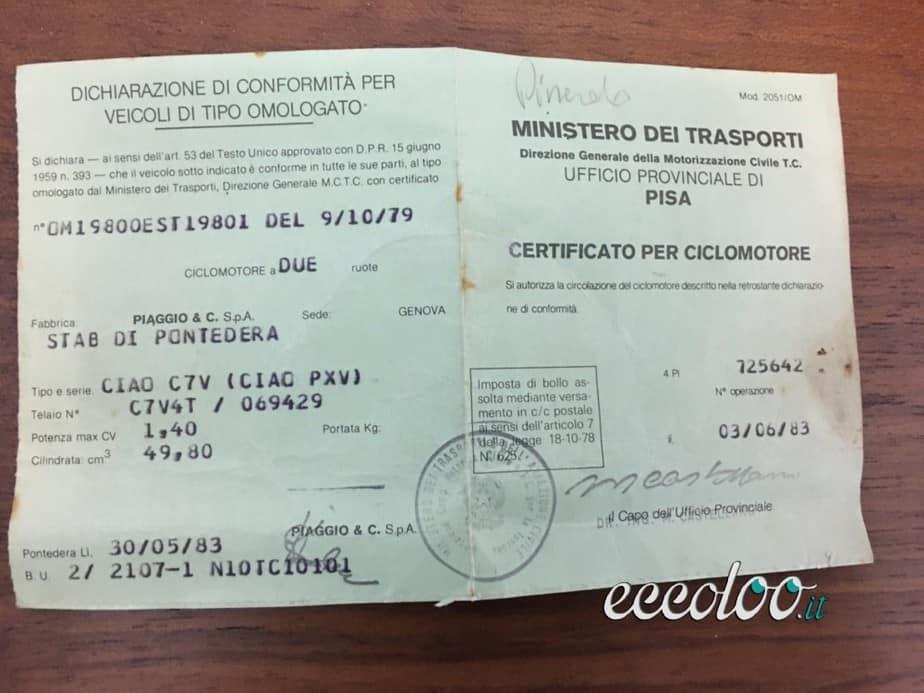 Piaggio Ciao del 1983 con libretto Ministero dei Trasporti